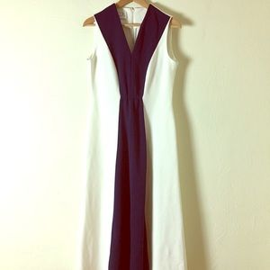 Vintage 1960s Leslie Fay Navy & White Maxi Dress
